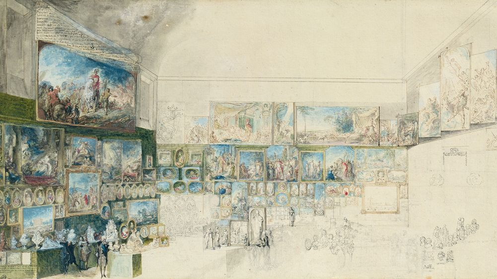 View of the Salon at the Louvre (study)