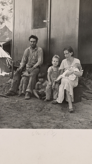 California fruit tramp and his family, Marysville migrant camp