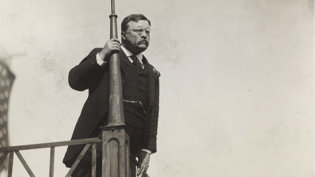 Theodore Roosevelt Looking Out from a Balcony