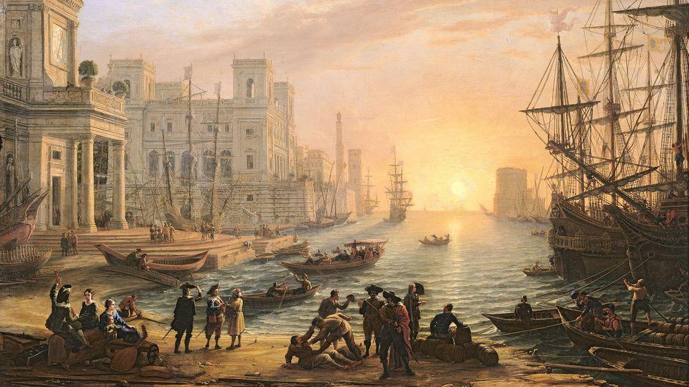 Sea Port at Sunset