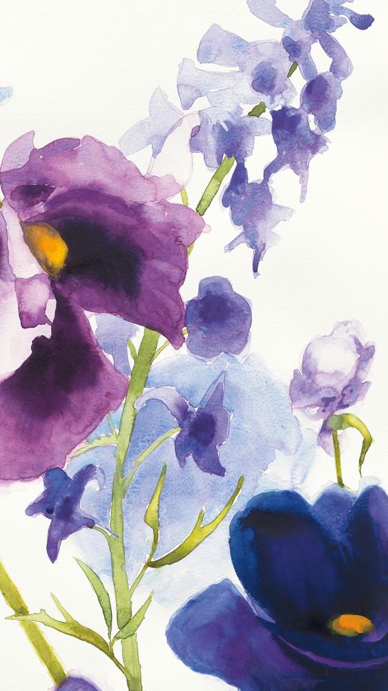 Blue and Purple Mixed Garden I Panel II
