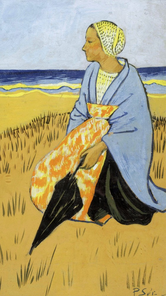 Breton Woman Sitting at the Seashore