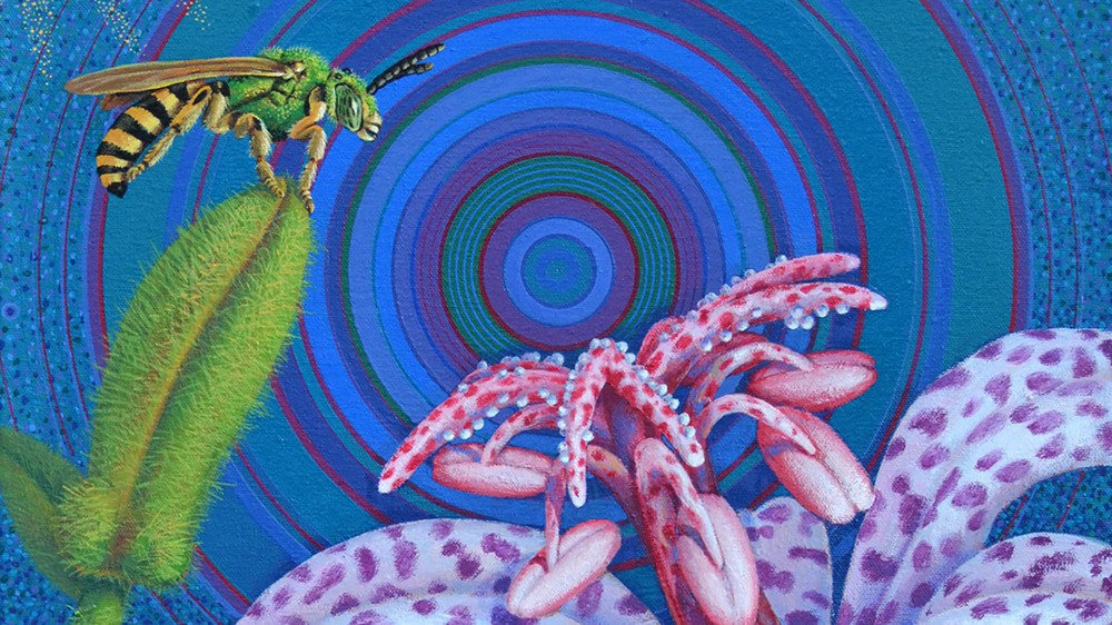 Toad Lily and Metallic Green Bee