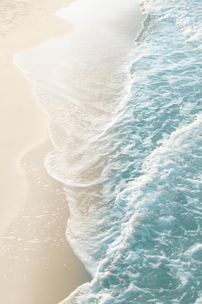 Soft Teal Gold Ocean Dream Waves