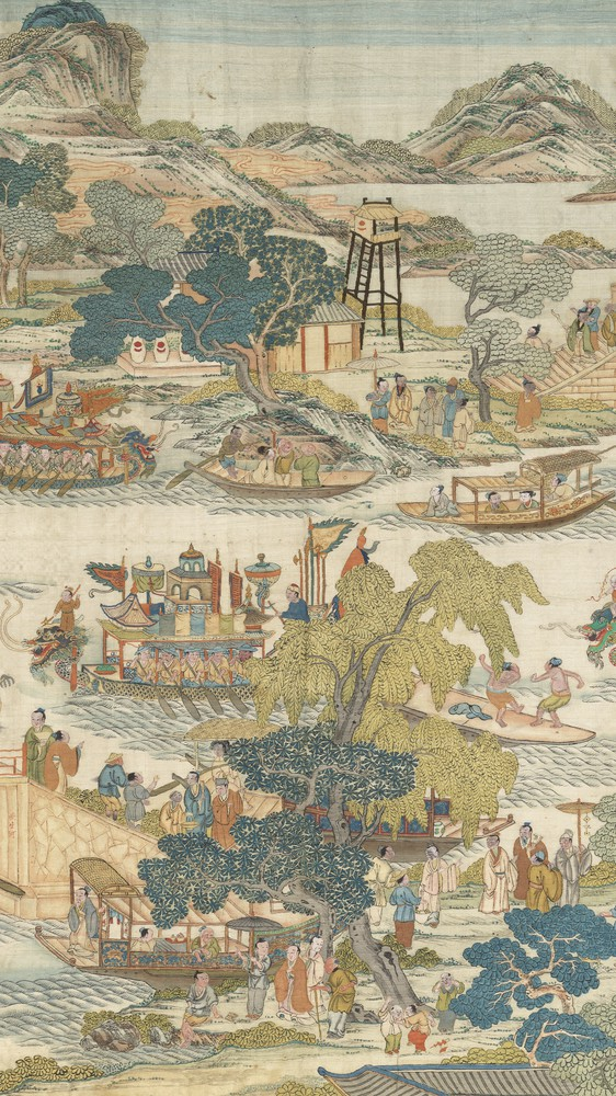 Dragon-boat festival performance (center panel)