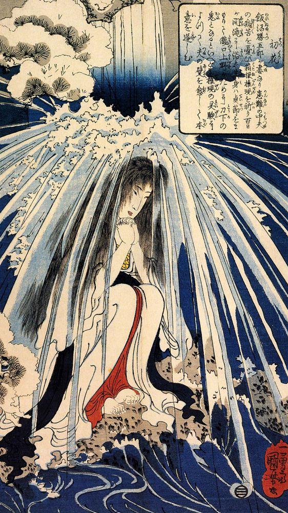 Hatsuhana Doing Penance Under Tonosawa Waterfall