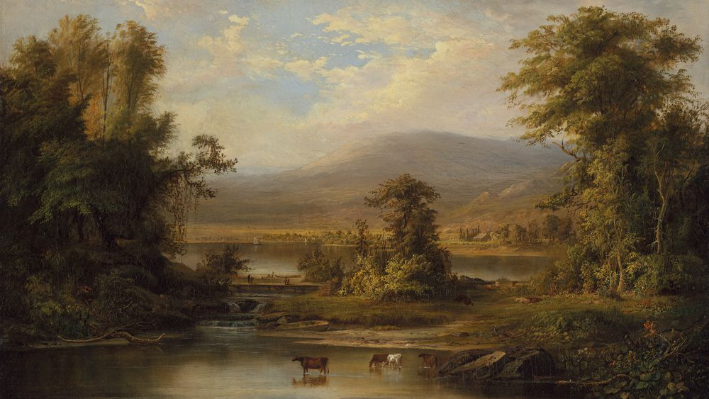 Landscape with Cows Watering