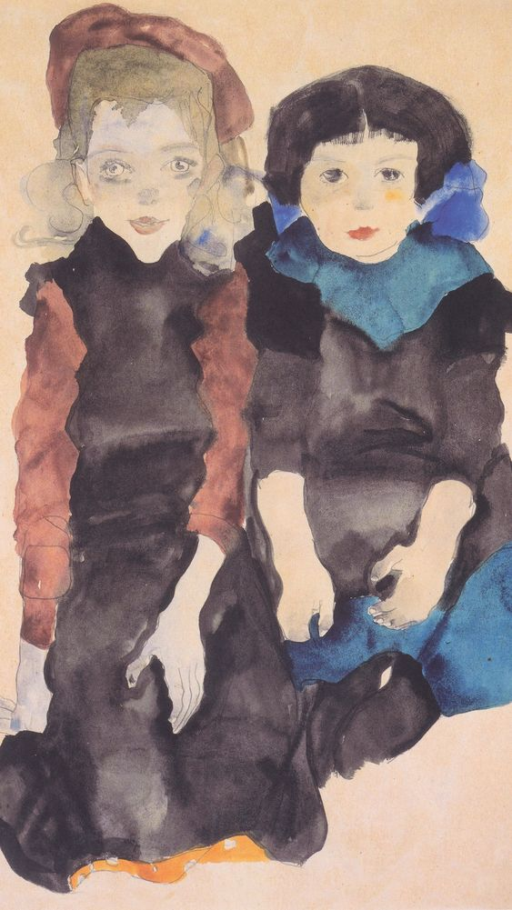 Two Crouching Girls