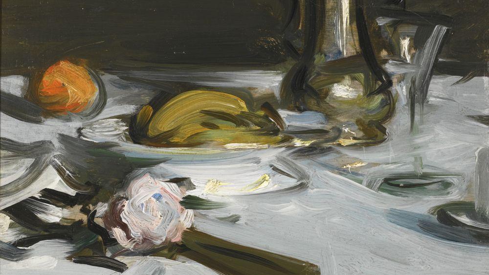 """Still Life with Coffee Pot and Fan"" by Samuel John Peploe"