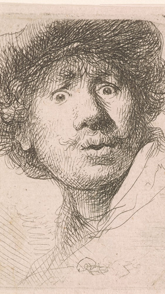 Self-Portrait in a Cap, Open-Mouthed