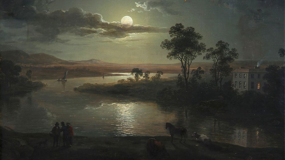 Evening Scene with Full Moon and Persons
